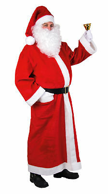 3 teilig:langer Plüschmantel Mütze Gürtel Weihnachtsmann Nikolaus Kostüm