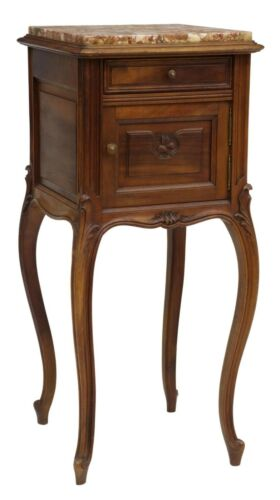 Antique Bedside Cabinet, Night Stand, French Louis XV Style Marble-Top, 1900s!