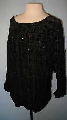 Coldwater Creek L Black Holiday Top Textured Stretch Fabric Canada Large $69