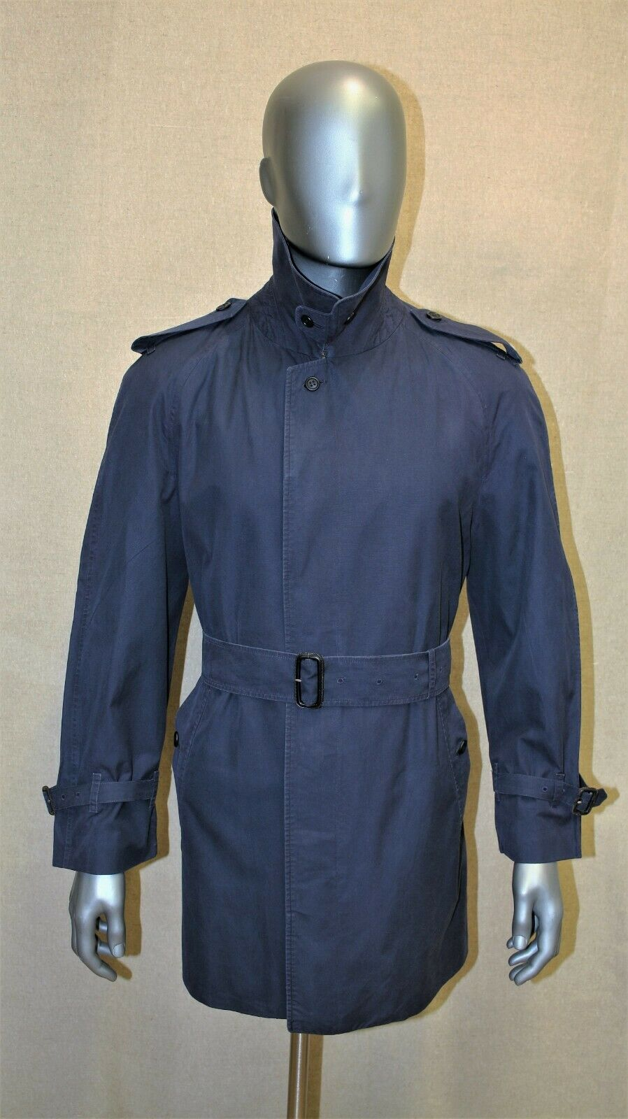 Trench imperméable burberry prorsum imper bleu 100% coton 48 reg made in england