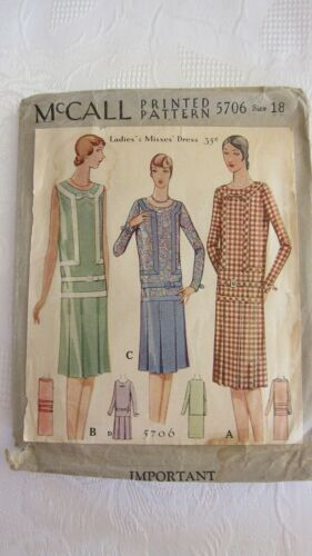 Antique 1928~McCall Printed Sewing Pattern # 5706 ~Ladies Dress Size 18~UNUSED