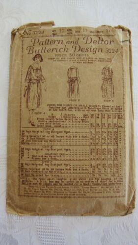 Antique 1919 Pattern And Deltor Butterick Design # 3224-Dress for Misses etc-17y
