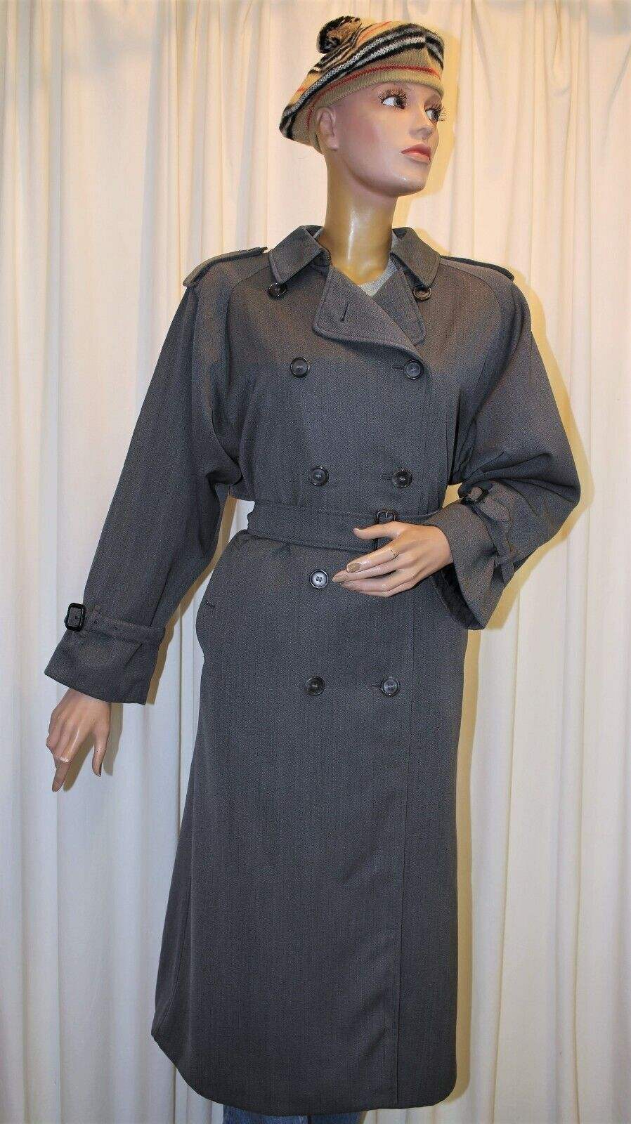 Trench imperméable burberry's vintage 80's gris taille 10l 38fr made in england