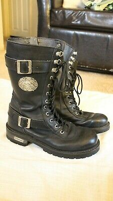 Xelement Motorcycle  Mens  Goth Punk Boots Size 9 Black Leather 20 Eye Side Zip