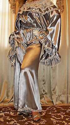 Vtg Liquid Silver Sweep Satin Long Pants Lace Slip on Jumpsuit Nightgown 1X 2X