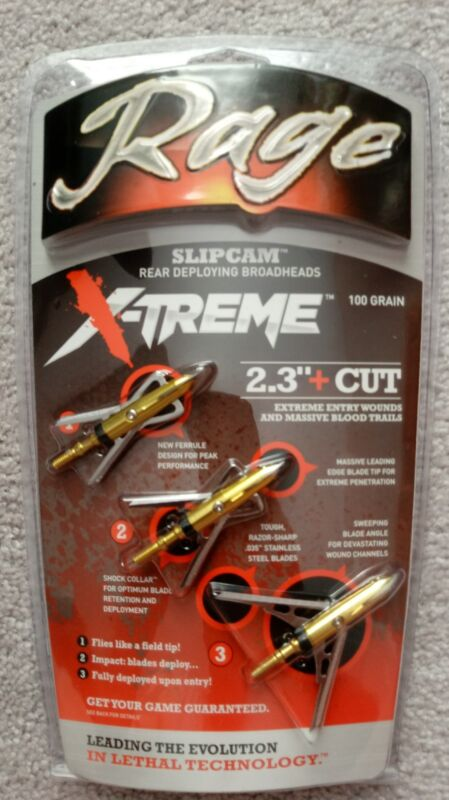 "NEW Rage X-TREME Extreme SC Expandable 2 Blade 100 Gr 2.3"" Cut Broadheads 3 Pack"