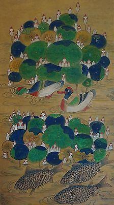 Very Fine Korean Joseon Dynasty MinHwa Folk Painting Lotus, Ducks & Carp