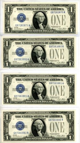 1928A $1 Funny Back 4 CONSECUTIVE# UNCIRCULATED