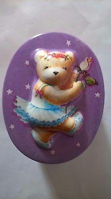 SMALL TEDDY BEAR OVAL TIN BALLERINA BALLET MAUVE BACKGROUND RAISED TEDDY