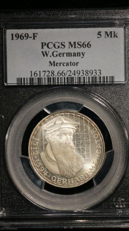 1969-F W.Germany 5 Marks PCGS MS66 Merkator