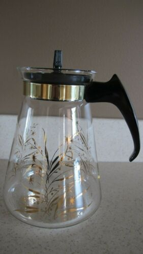 Vintage Pyrex Gold Glass Coffee Pot Carafe Gold Wheat with Lid