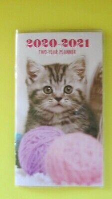 2020-21 Planner Kitten Cat 2 Year Pocket Purse Calendar Agenda 2 Yr Small Pink