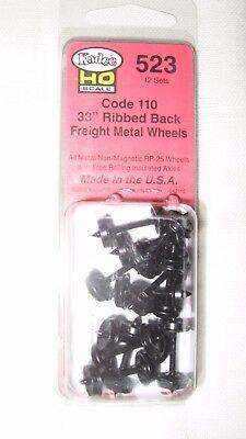 "Kadee #523 HO Scale Metal Code 110 33"" Ribbed Back Wheels Freight"