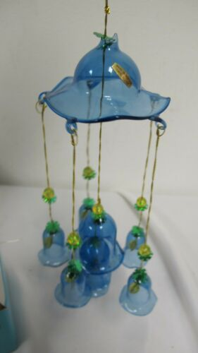 VINTAGE GLASS BELL WIND CHIME BLUE 8 BELLS IN BOX YDC TAIWAN