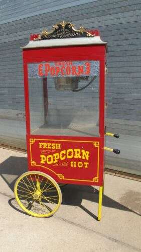 "Vintage Original C.Cretors Profiteer Popcorn Machine~Push Cart Type~73"" Tall"