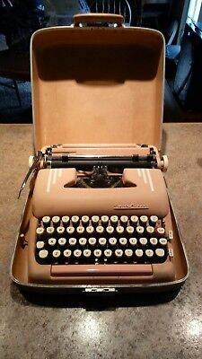 Vintage-Original PINK SMITH CORONA Silent Super Typewriter-With attached case