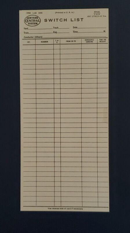 New York Central railroad Switch List card blank