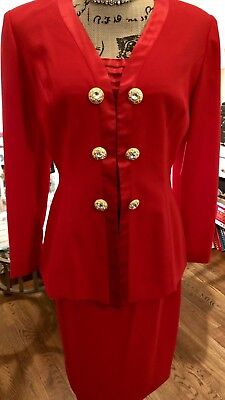 Morton Miles for the Warrens  Red Skirt Suit 3Piece Set Size 6