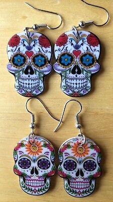 Sugar Skull Earrings (Sugar Skull Drop Earrings Acrylic Dangle Day of the Dead Skulls Día de)