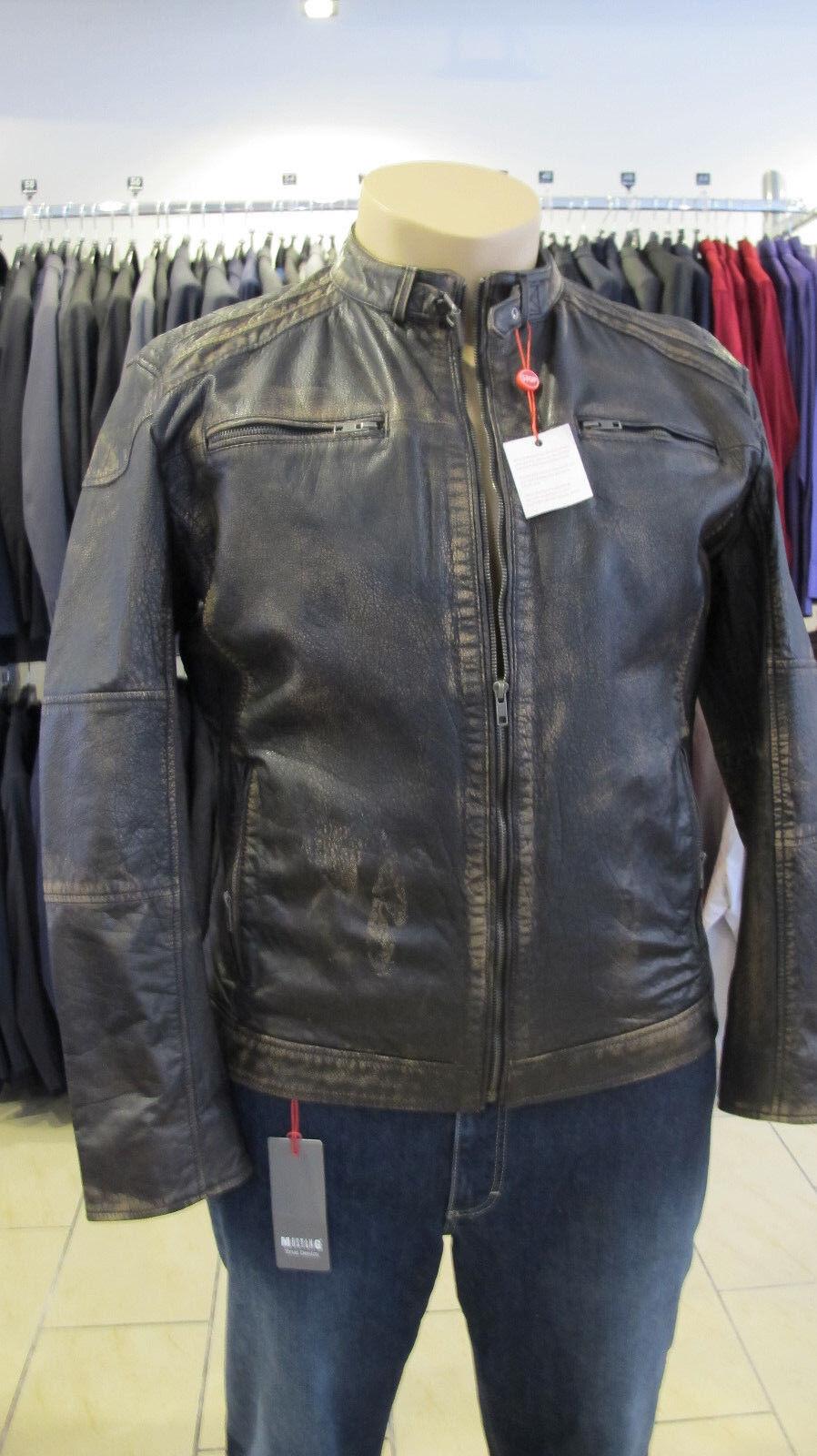 Rhode Island Echtleder Biker-Jacke in schwerer und super Qualität Antik-Leder