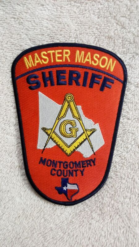 ULTRA RARE Masonic Master Mason Montgomery County Sheriff Embroidered Patch PAIR
