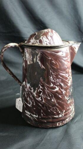 """ANTIQUE GRANITE WARE COFFEE BOILER,POT BROWN WHITE SWIRL 11 1/2 """"TALL X 9 3/4"""""""