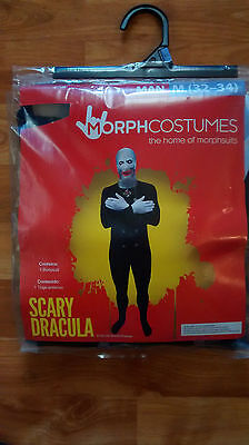 NEW Mens Morph Bodysuit Scary Dracula Morphsuit Halloween Costume Size M (32-34) - Scary Morphsuit