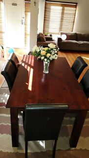 Dining table with 6 black leather chairs Pascoe Vale Moreland Area Preview