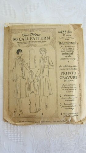 Antique 1921 Ladies Dress Sewing Pattern The New McCall Pattern #4422- Size 36