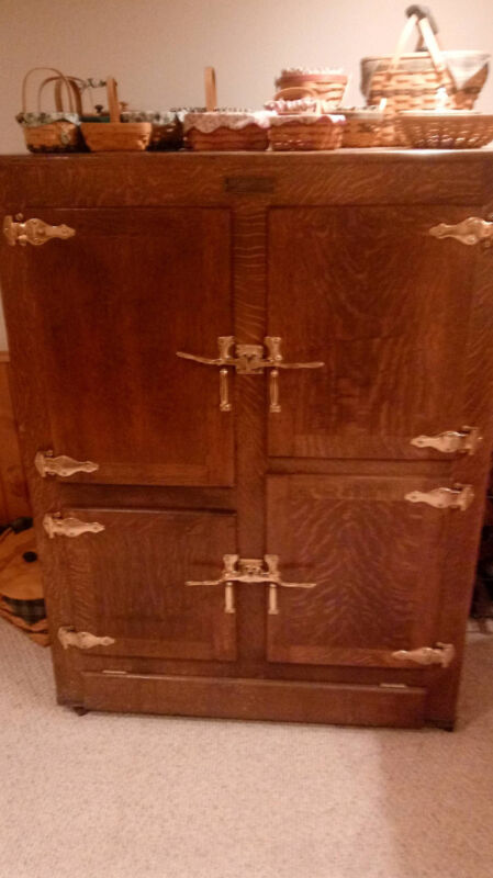 Antique Ice King Oak Ice Box Four Doors