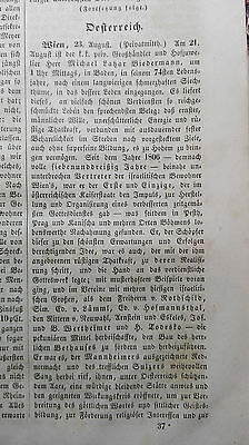 1843 Zeitung ...Juden 37  Nachruf Biedermann Wien Baden / Cronheim Sandersleben