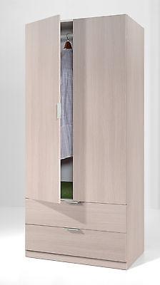 Armario con 2 puertas y 2 cajones para habitación o dormitorio en color roble