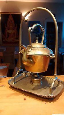 Vintage Brass Tea Kettle Pot and Stand With Spirit Burner