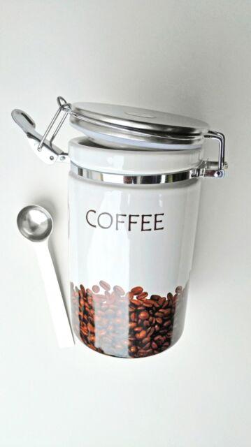 Kaffeedose Keramik mit Löffel Vorratsdose mit Dichtung NEU Steingut