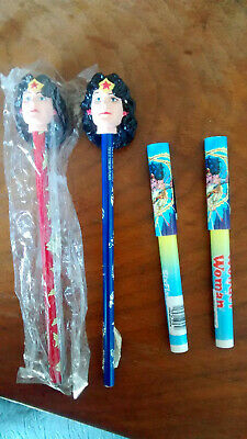 lot of 2 new Wonder Woman pencils and 2 Wonder Woman pens from Six Flags 2000.