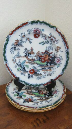 """Antique Ashworth Bros. Hanley England Ironstone Chinese Willow Plates x 4, 9.25"""""""
