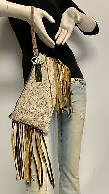 Raviani Fringe Zipper Wristlet Bag In Brown & White Hair on Leather Made In USA ()