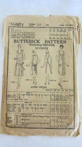 "Antique 1919 Butterick Pattern Including Deltor # 6874- Ladies Apron, Bust 48""."