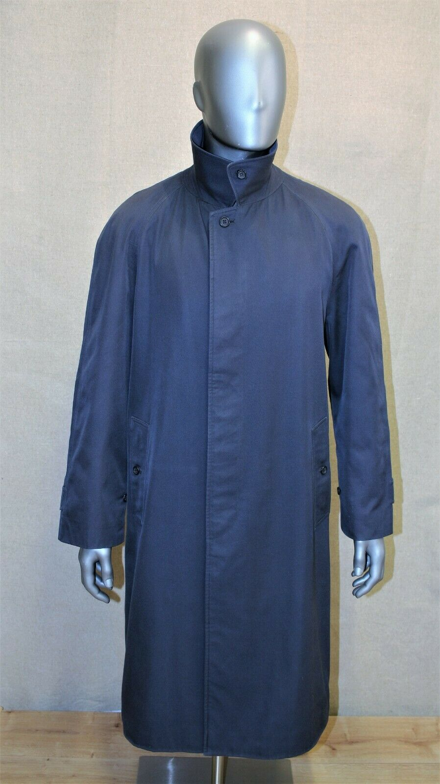 Trench imperméable burberry prorsum raglan bleu marine 52 reg made in england