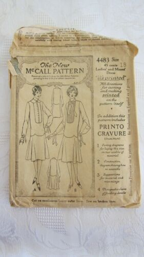 Antique 1921 Misses Dress Sewing Pattern The New McCall Pattern #4483- Size 18