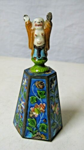 Chinese Figural Blue Enamel Bell w Immortal Figure Handle
