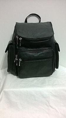New Black Genuine Leather Zippered Backpack Style Purse Handbag