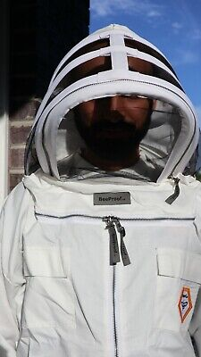 Cotton Ventilated Bee Beekeeper Beekeeping Jacket With Hat Fencing Veil Large