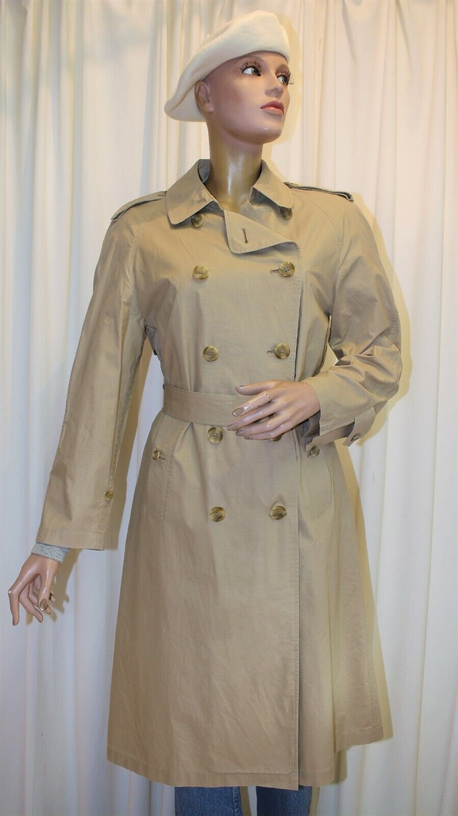 Trench imperméable burberry's vintage 70's 100% coton beige t42 made in england