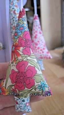 A LIBERTY FABRIC FUN TREE DECORATION. 4 INCHES TALL...SHABBY CHIC DESIGN.