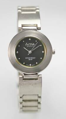 Activa Unisex Watch Stainless Steel Silver Water Re 30m Battery Dark Gray Quartz