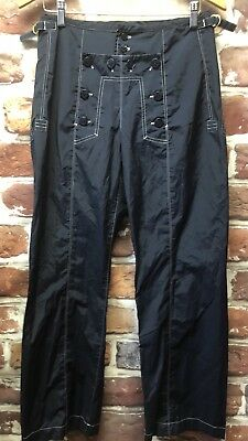1990's VTG Ralph Lauren Womens 8 Blue Hip Hop Nylon Track Pants Corset Back  1990s Womens Pants