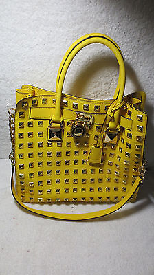 MICHAEL KORS Hamilton PURSE Large NORTH SOUTH STUDDED Citrus Pyramid TOTE BAG