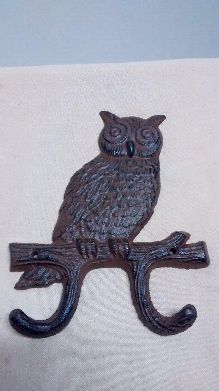 Cast Iron Hoot Owl towel hanger coat hooks hat hook key rack home garden decor