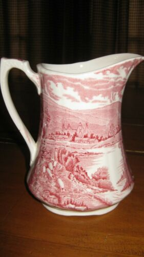 "Ironstone Pitcher -  Red Transferware -  Alfred Meakin  ""Tintern"""